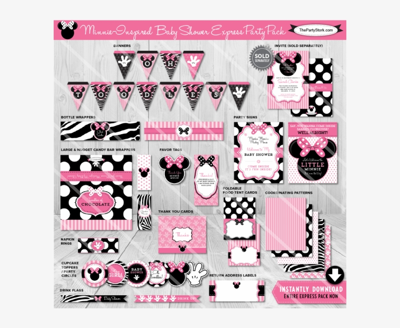 Download Minnie Mouse Baby Shower Decorations Clipart - Minnie Mouse Baby Shower Decorations For A Girl, transparent png #3542346