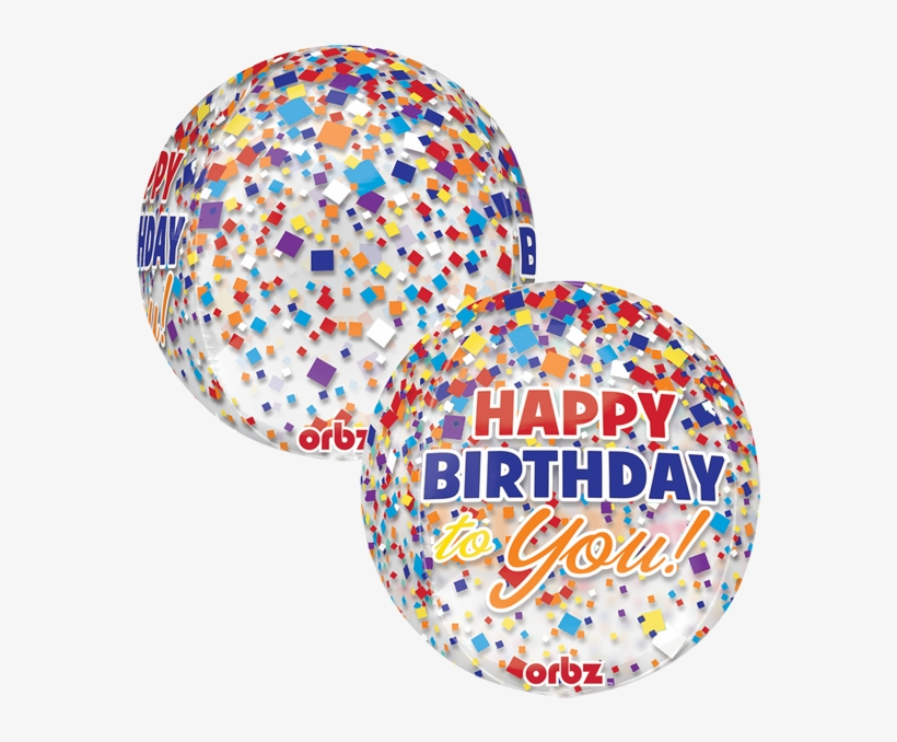 Globo Hbd Clear - Amscan Orbz Happy Birthday Confetti Balloon, Clear, transparent png #3542796