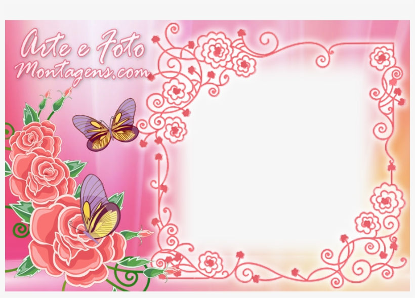 Borboletas E Rosas Pink Moldura Com Rosas Rosa Free