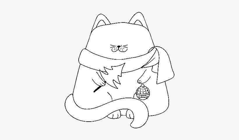 Dibujo De Gato Con Adornos Navideños Para Colorear Disegni