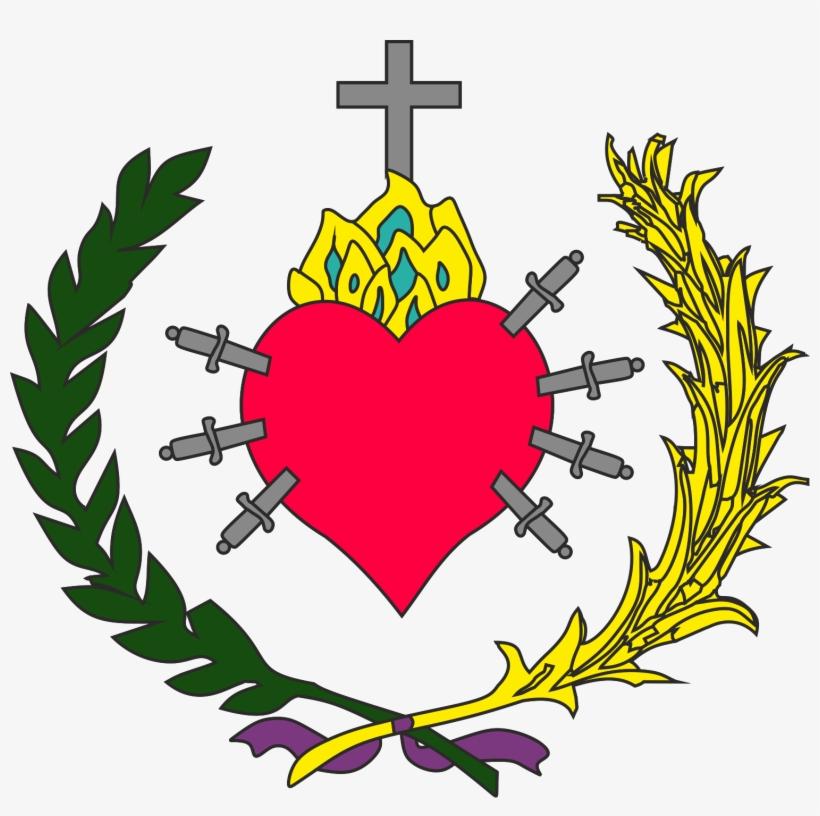 El Escudo De La Hermandad Representa El Símbolo Tradicional - Corazon De Maria Con 7 Espadas, transparent png #3551505