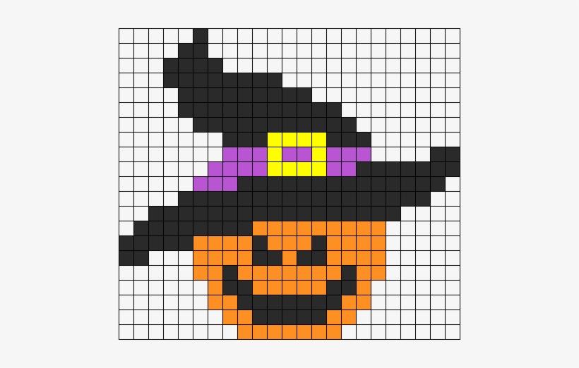 Evil Pumpkin Halloween Perler Bead Pattern Pixel Art