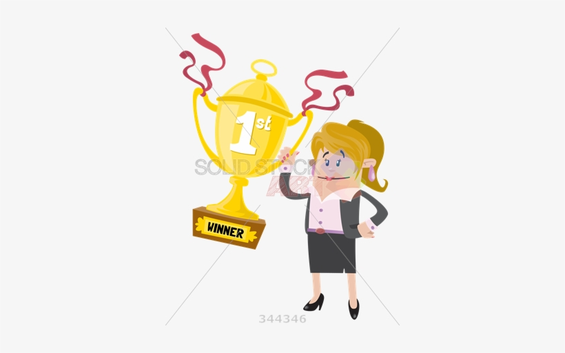 Stock Illustration Of Cartoon Caucasian Business Woman - Win First Prize, transparent png #3575800