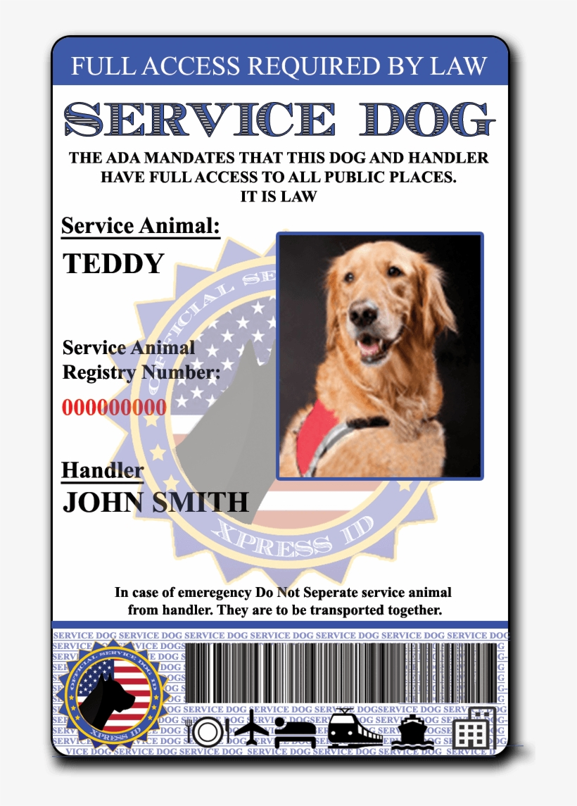 Service Dog Id - Xpress Id Holographic Emotional Support Dog Id Card, transparent png #3584250
