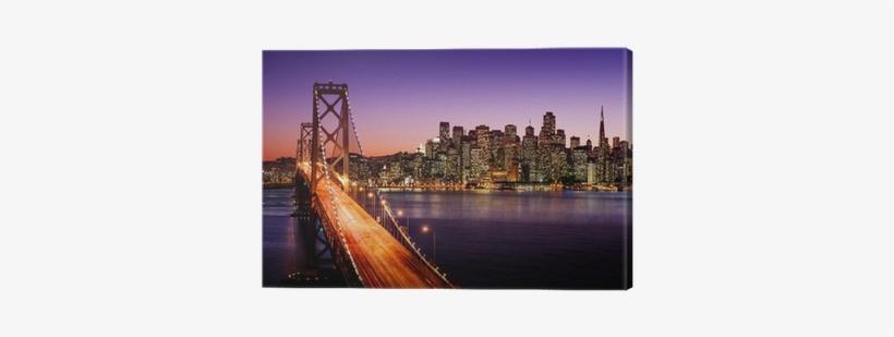 San Francisco Skyline And Bay Bridge At Sunset, California - Golden Gate Bridge Art 32x24 Poster Decor, transparent png #3587676