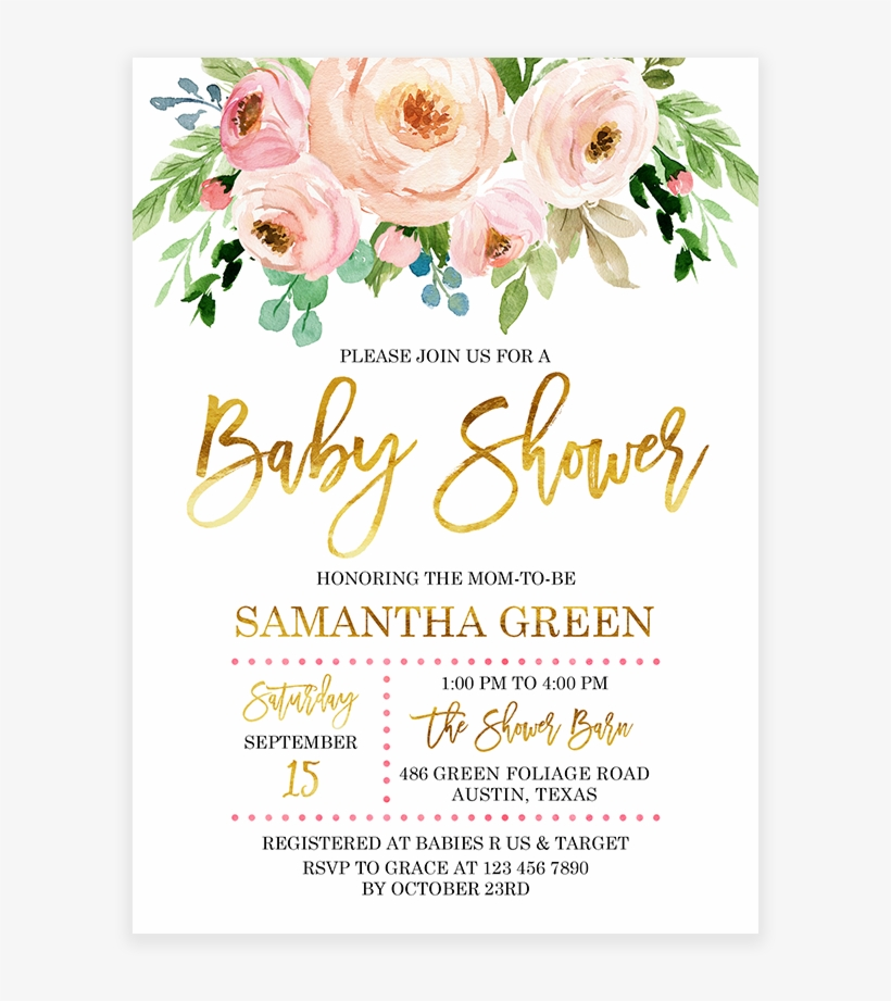 Pink And Gold Floral Baby Shower Invitation Printable Flower Pink