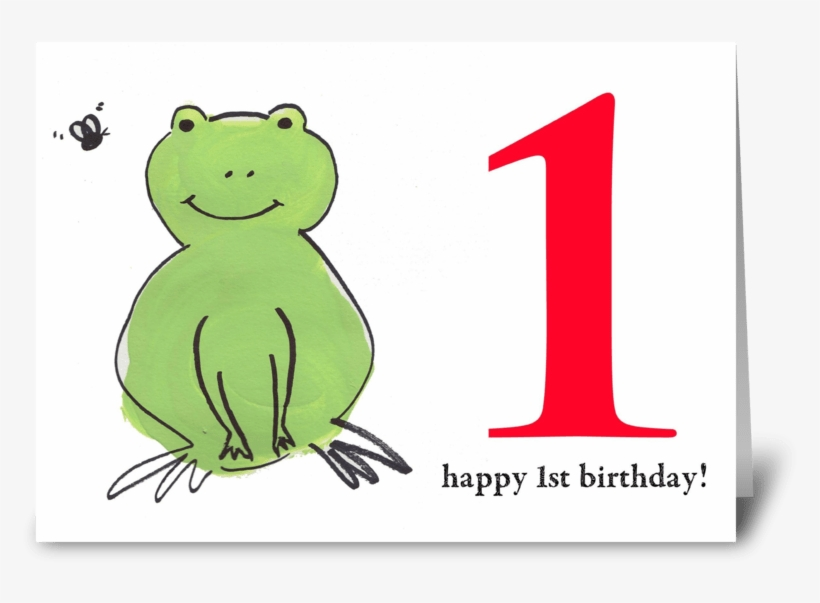 Frog Happy First Birthday Greeting Card - Greeting Card, transparent png #3593908