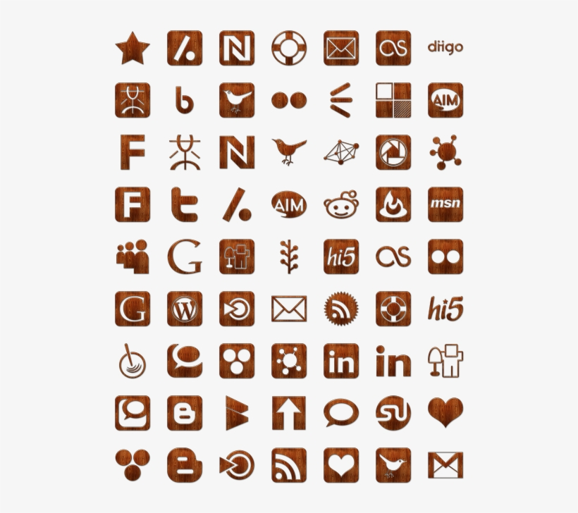 Wood Social Networking Icon Pack By Webtreatsetc - Social Media Icons, transparent png #3596320