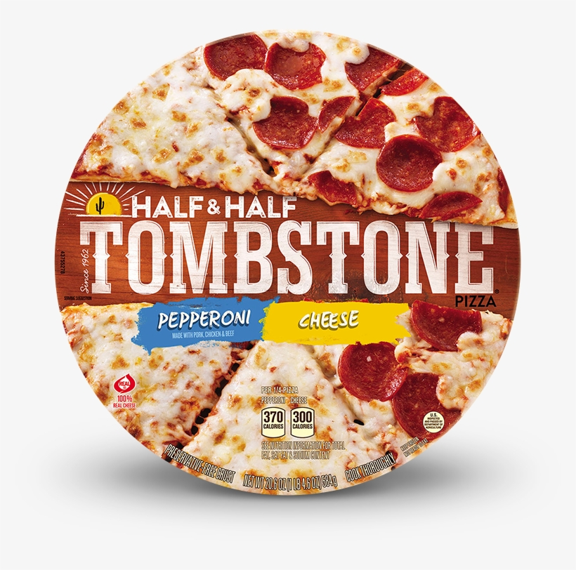 Tombstone Half & Half Pepperoni And Cheese Pizza - Tombstone Original Sausage & Mushroom Pizza 22, transparent png #360186