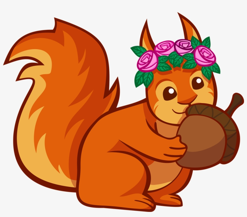 Red Squirrel Clipart Transparent Background - Squirrel Acorn Clip Art, transparent png #362891