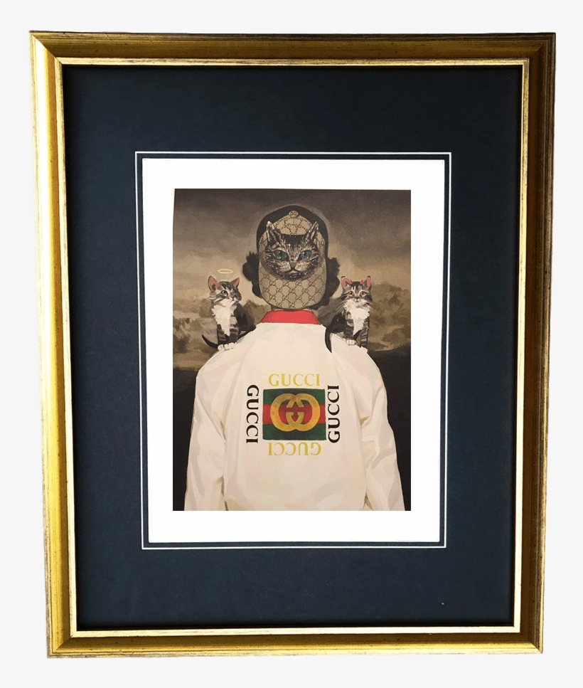 894e48cf54504 Vintage Gold Frame Gucci Kitten Angel Cat Devil Hat - Gucci Painting In  Frame