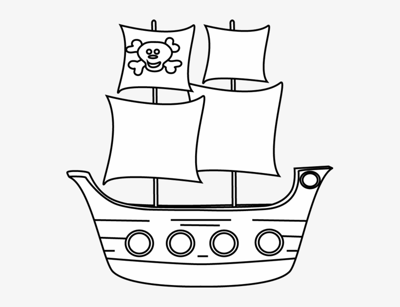 Black And White Pirate Ship Clip Art - Pirate Ship Clipart Black And White, transparent png #368041
