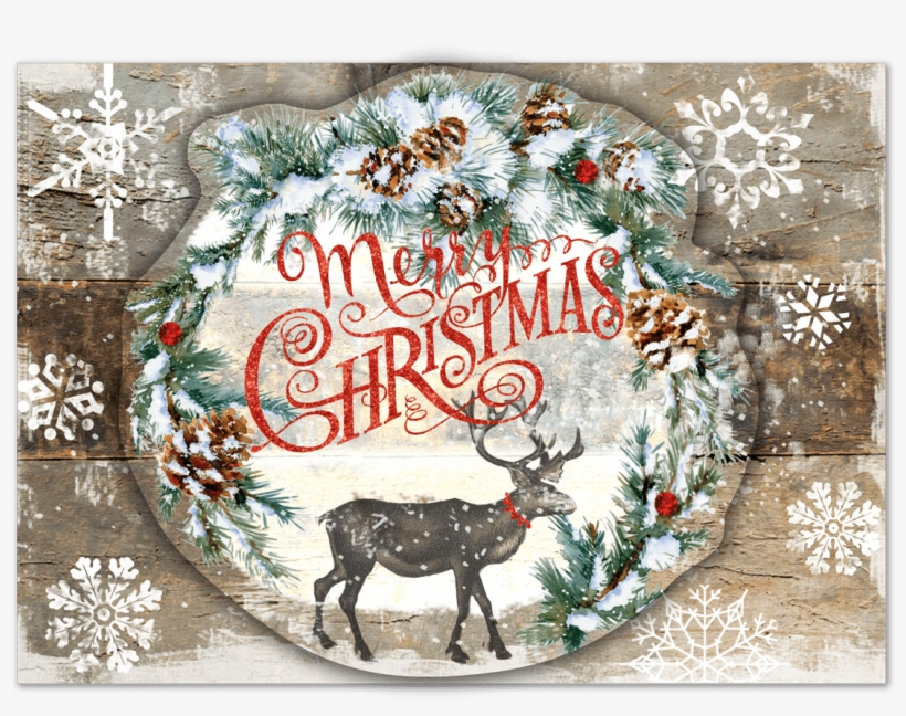 Snowy Reindeer Boxed Holiday Cards Punch Studio Png - Folk Ornaments Christmas Cards, transparent png #3600319