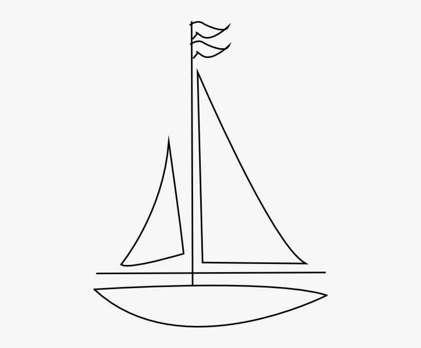 Sailing Boat Clip Art At Clker - Line Drawing Sail Boat, transparent png #3606819