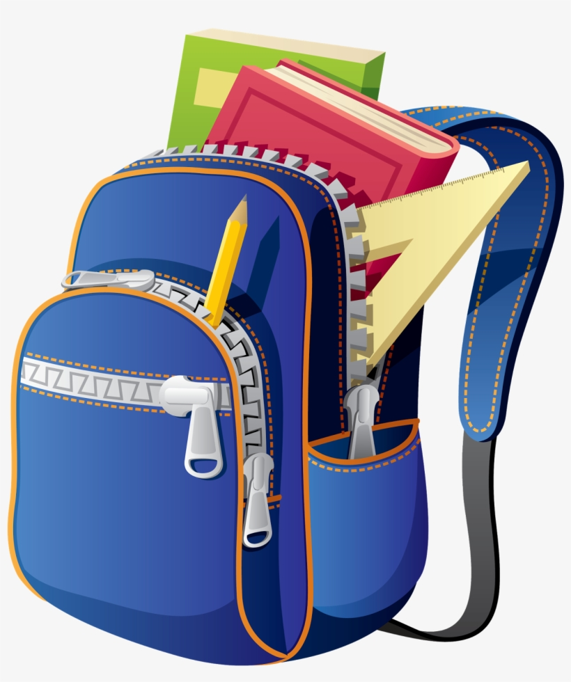 Backpack School Bag Clip Art - Backpack With School Supplies Clipart, transparent png #3621743