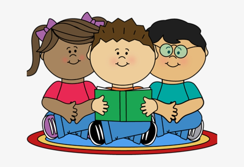 Image Of School Children Reading Clipart - Reading Class Clip Art, transparent png #3627900