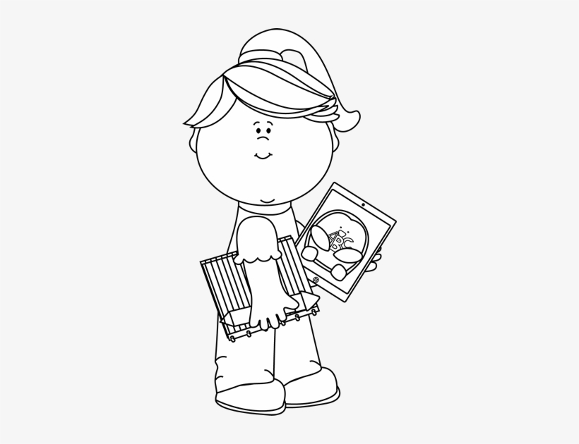 Black And White Girl With School Supplies And Tablet - Playing Guitar Clipart Black And White, transparent png #3628347