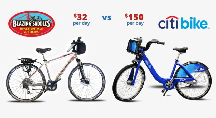 Blazing Saddles Bike Rental And Tours Vs New York Bike - New York Bike Rental, transparent png #3637669