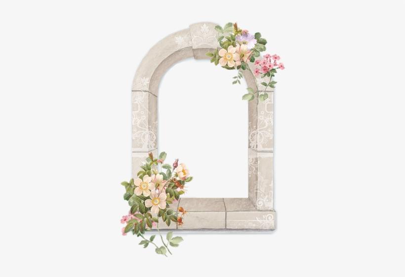 Cadres Et Bordures - Window With Flowers Png, transparent png #3645312