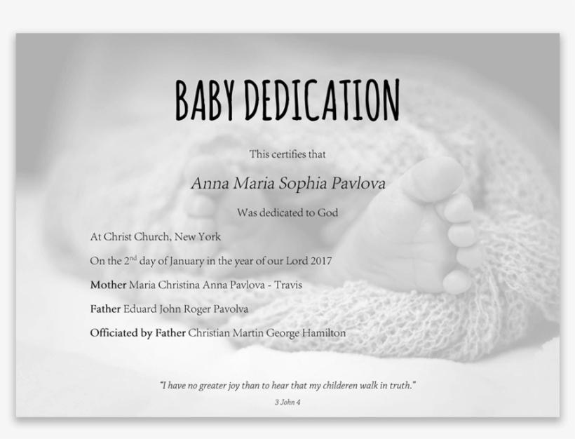 Baby Dedication Certificate With Baby Feet In Blanket Dedication