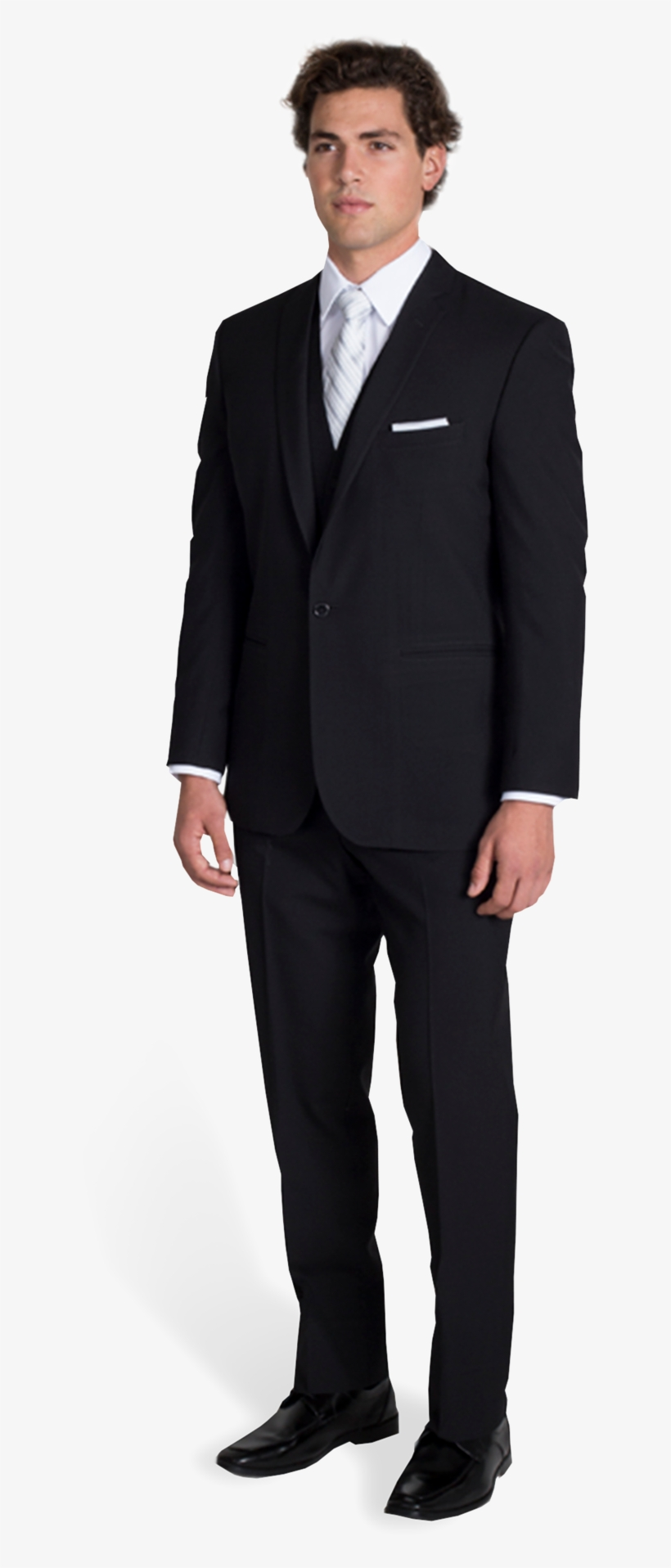 559ab61f2fda Black Notch Lapel Suit With Silver Tie - Stacy Adams Black Suits ...