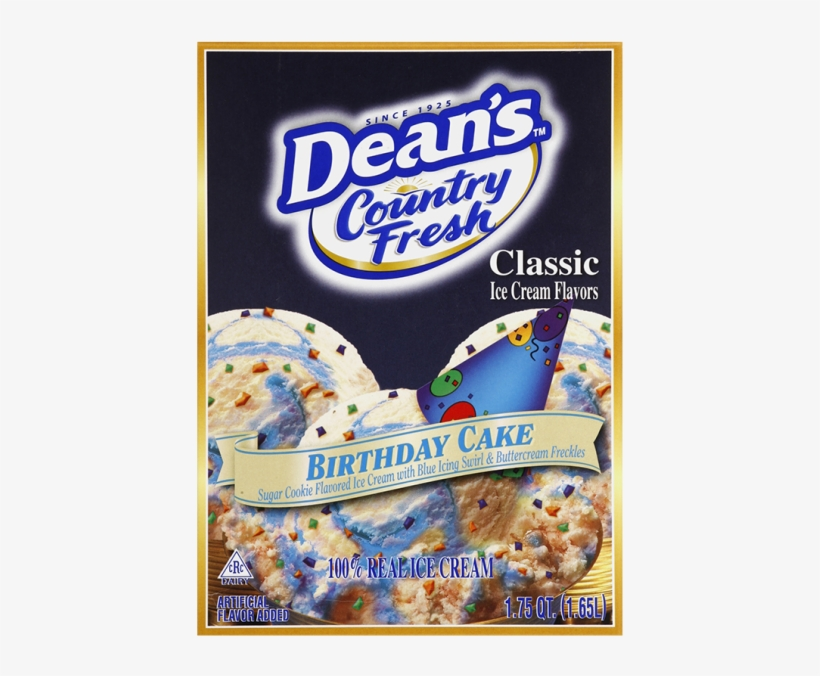 Dean's Country Fresh Classic Birthday Cake Ice Cream - Deans Peppermint Ice Cream, transparent png #3648700