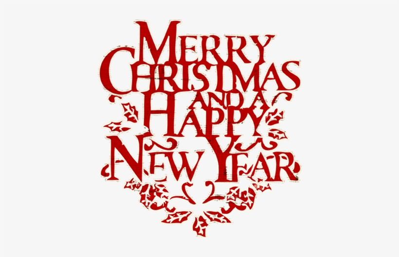 Merry Christmas Words Christmas And - We Wish You A Merry Christmas And Happy New Year Clip, transparent png #3648942