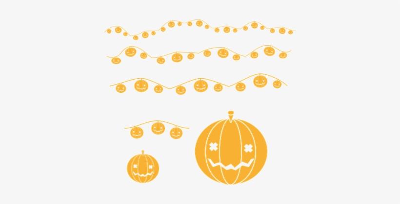 Pumpkin, Halloween, Deco, Garland, Gourd - Halloween, transparent png #3653052