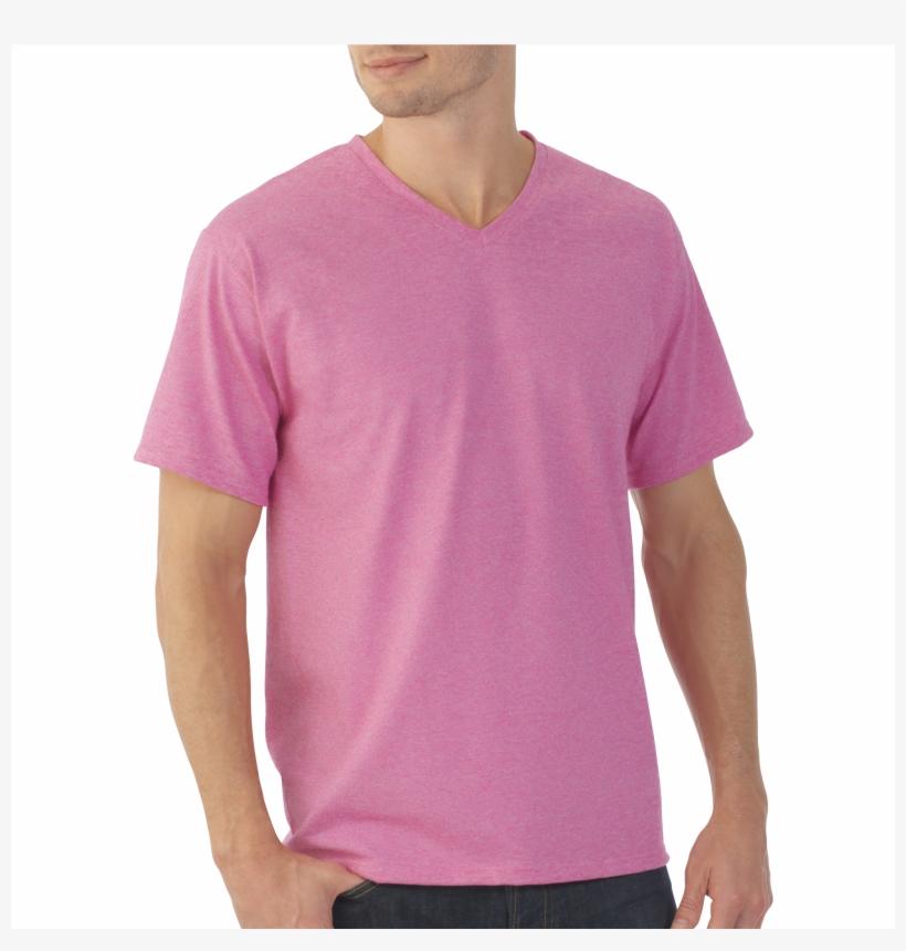 d38fec33 Men's Eversoft Micro Stripe V Neck T Shirt - Fruit Of The Loom Men's  Platinum Eversoft Short Sleeve