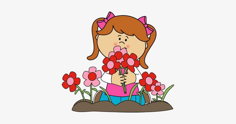 Girl Picking Valentine's Day Flowers Clip Art - Girl With Flowers Clipart, transparent png #3670152