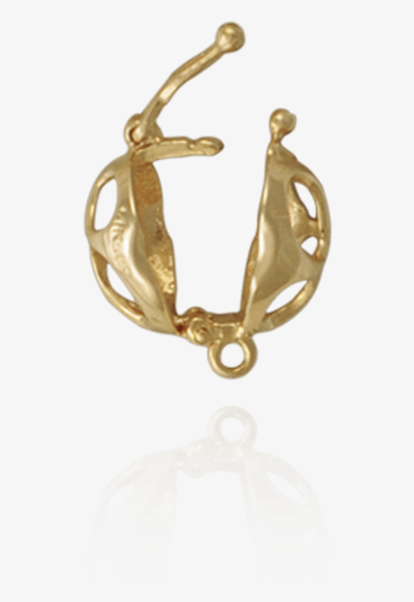 Cage Clasps With Open Circle Design - Gold, transparent png #3671506
