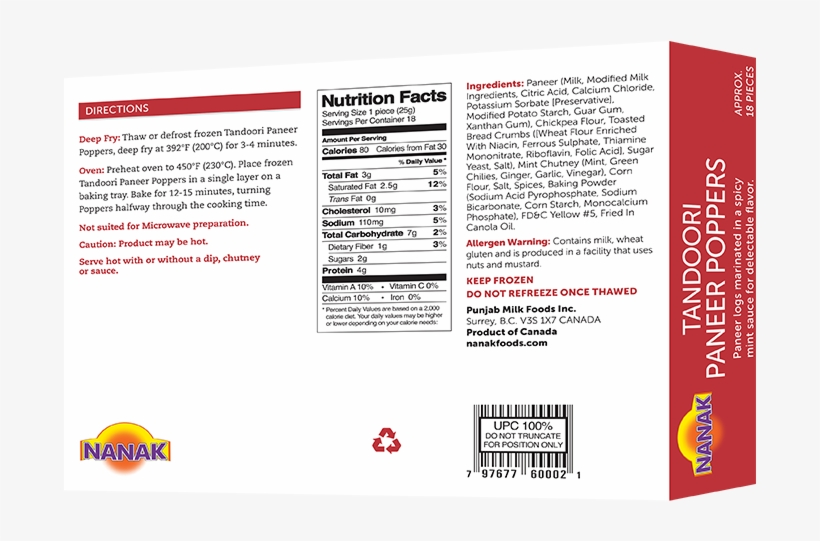 Paneer Poppers Nutrition Facts Free Transparent Png Download Pngkey