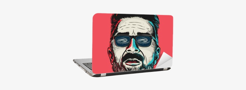 Hand Drawn Vector Face Of A Hipster Man With Glasses - Reproduction D'art Hand Drawn Vector Face, transparent png #3673164