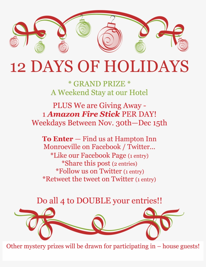Like Us On Facebook And Follow Us On Twitter To Participate - Holiday Open House Invitation For Business, transparent png #3695387