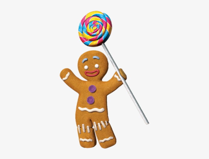 Gingerbread Man With Lolly - Gingerbread Man From Shrek, transparent png #378606