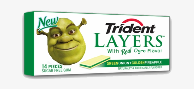 Shrek- The God Of Memes - Trident Layers Green Apple & Golden Pineapple Gum, transparent png #379401