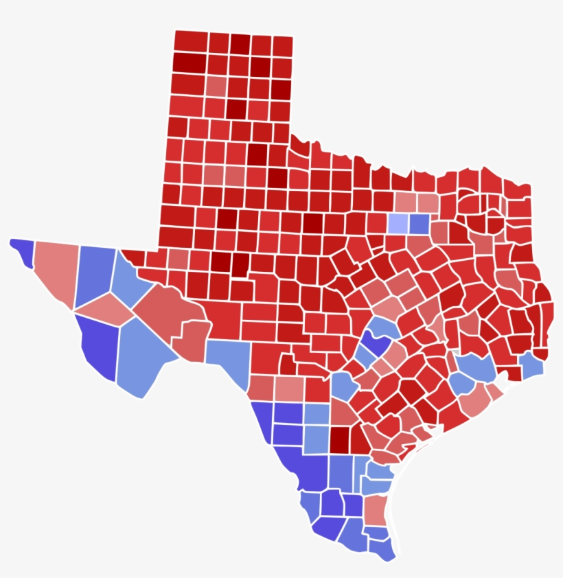 Texas 2016 Election Results By County, transparent png #3702100