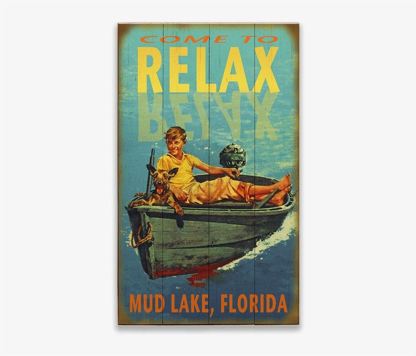 """View Zoom Relax Boy In Boat Sign - Personalized Wood Lake Sign - Relax (28"""" X 48""""), transparent png #3716380"""