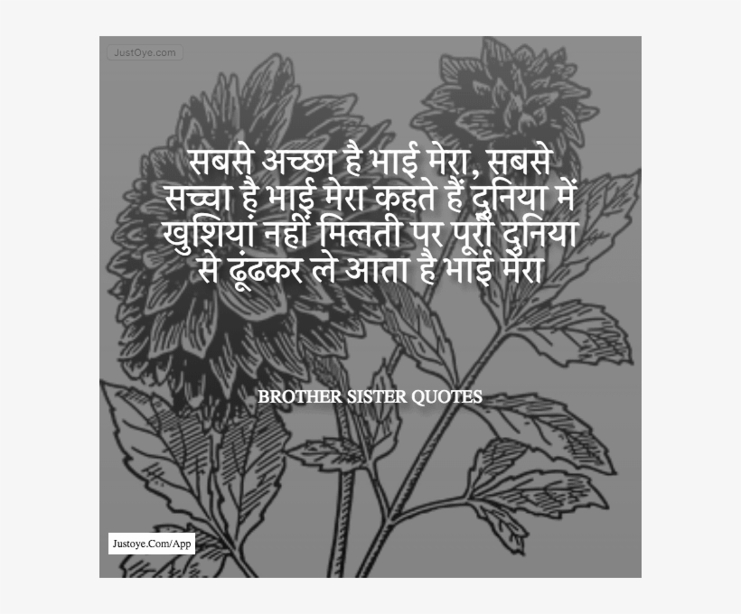 Latest Brother Sister Quotes In Hindi - Brother And Sister Quotes In Hindi, transparent png #3724734