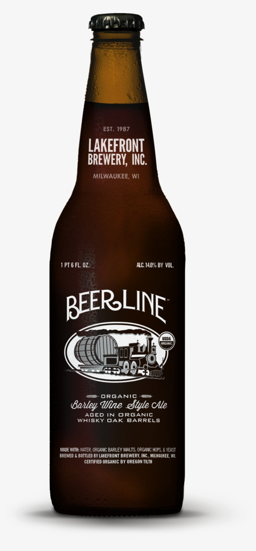 Lakefront Brewery To Release Nation's First Organic - Beer Bottle, transparent png #3732640