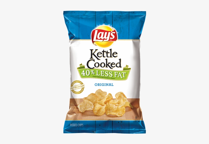 Kettle Cooked 40% Less Fat Original Potato Chips - Lays Aged Cheddar And Black Pepper Chips, transparent png #3739841