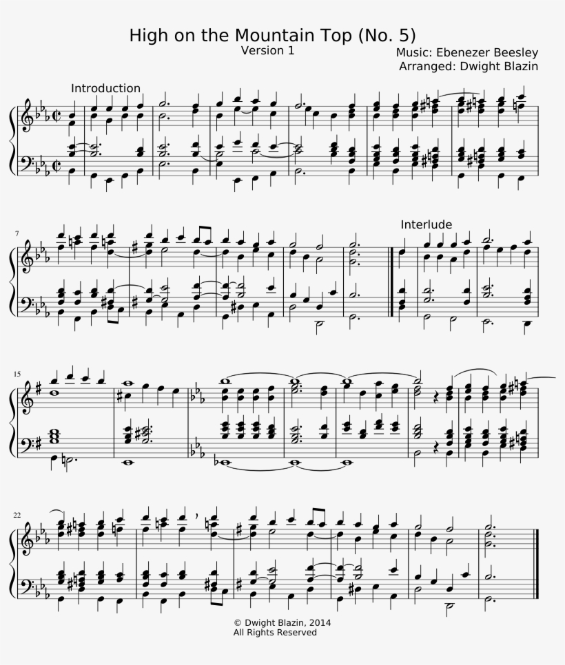 High On The Mountain Top Sheet Music Composed By Music - Sheet Music, transparent png #3752604