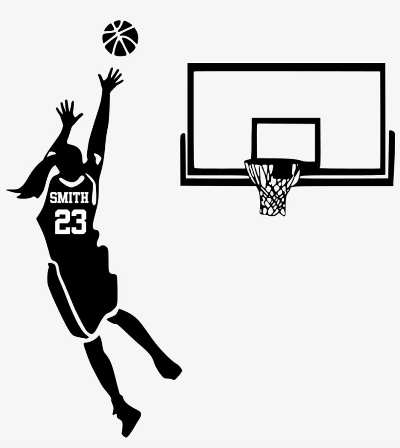Basketball Girl - Silhouette Of Basketball Player Shooting, transparent png #3755915
