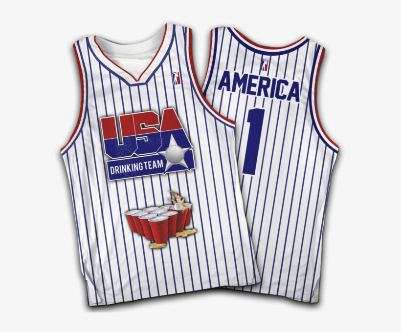 Usa Drinking Team White Basketball - Sports Jersey, transparent png #3755974