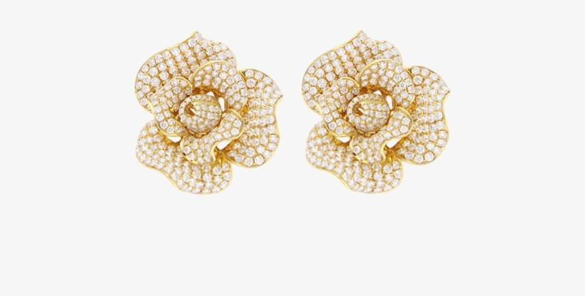 18 Karat Yellow Gold Flower Earring With Diamonds - Transparent Gold Flower Earrings, transparent png #3757021