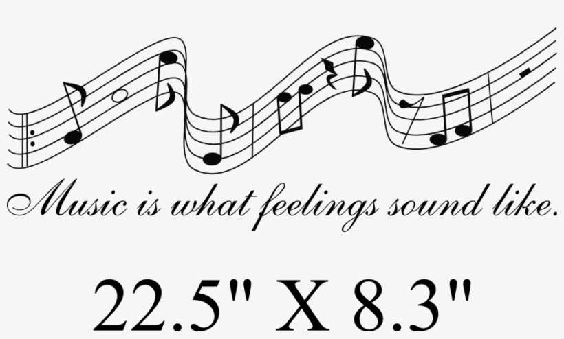 Music Notes Words Lettering Quote Wall Art Vinyl Decal - Music Notes Clipart Png, transparent png #3764895