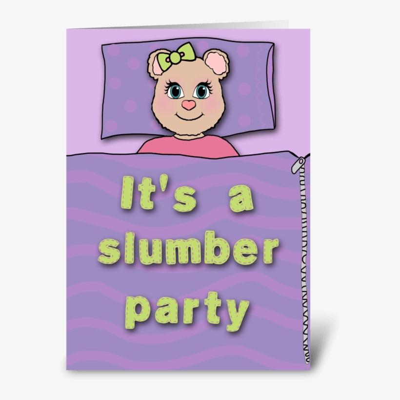Bear Slumber Party Invitation Greeting Card - Girl's Slumber Party Invitation With Cute Bear Card, transparent png #3774554