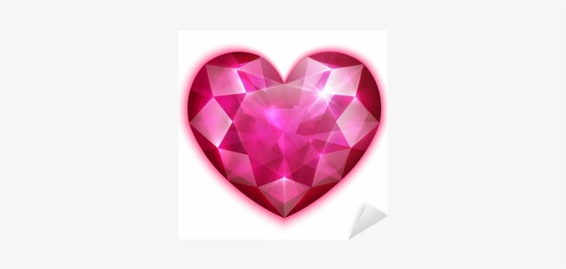 Pink Ruby Heart On White Background - Blue Diamond Heart Shape, transparent png #3779949