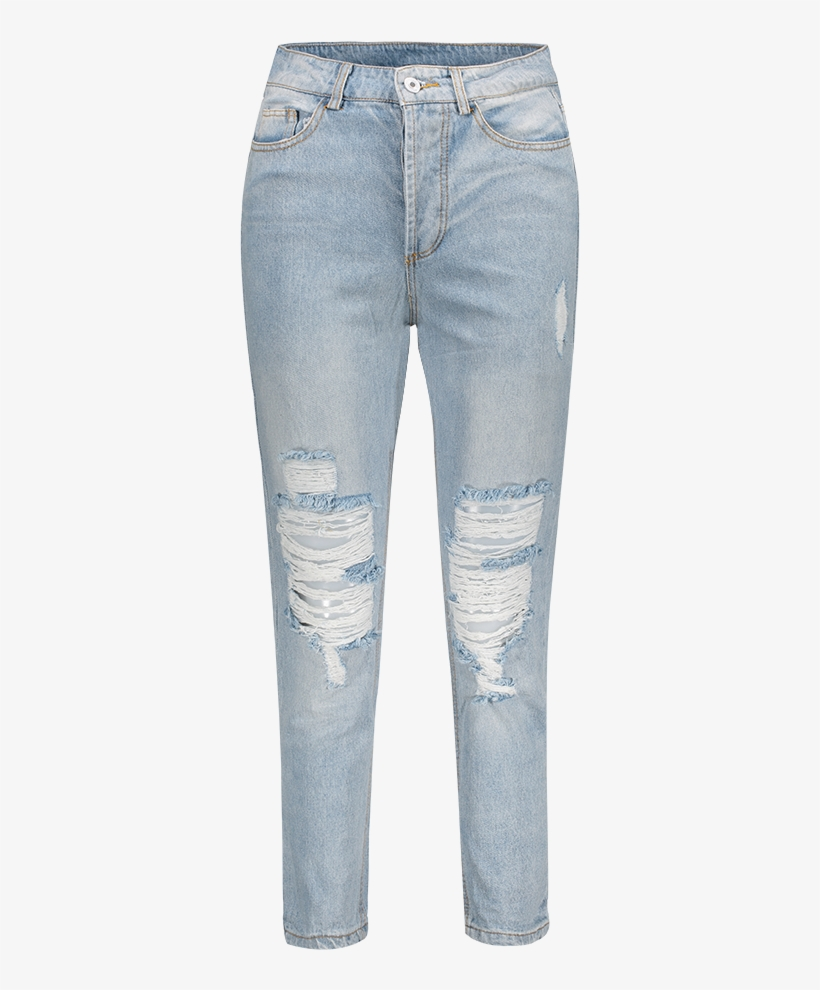 Bleach Wash Ripped Jeans - Clothing, transparent png #3783663