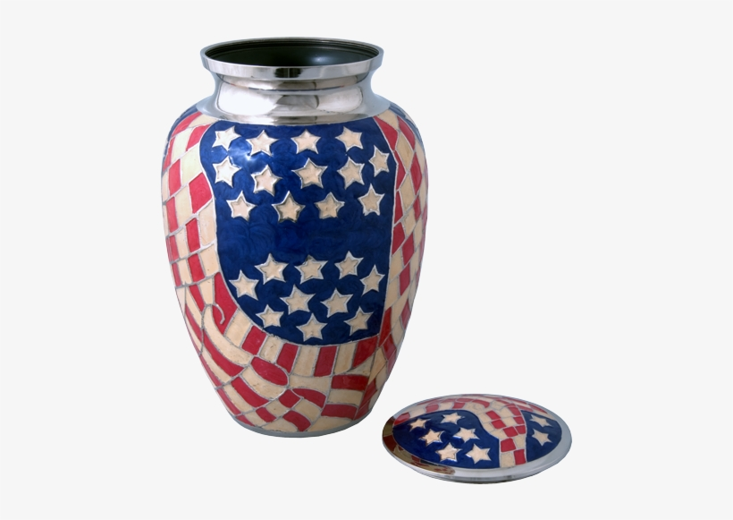 Full-size American Flag Brass Urn Shown With Open Lid - Flag Of The United States, transparent png #3788146